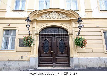 ZAGREB, CROATIA - SEPTEMBER 20: Entrance of City Hall in Upper town in Zagreb, Croatia on September 20, 2014