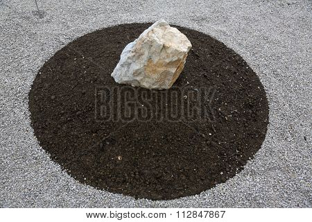 Garden design, with hard landscaping, using shaping, paving, rocks and pebbles