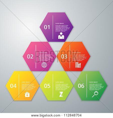 Vector illustration infographics six hexagon