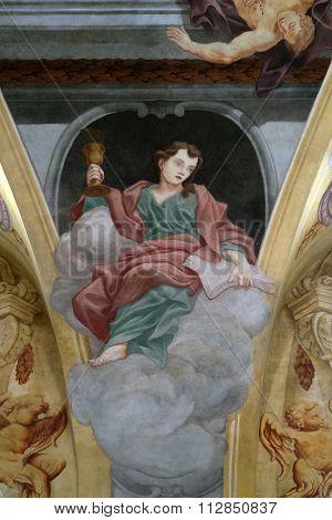LJUBLJANA, SLOVENIA - JUNE 30: Saint John the Apostle, fresco on the ceiling  of the Cathedral of St Nicholas in Ljubljana, Slovenia on June 30, 2015