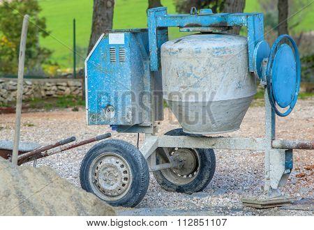 Concrete mixer machine at construction site