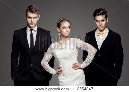 Beautiful Bride Going To Choose Between Two Grooms