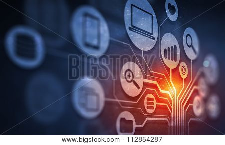 Digital background image with networking connection and cloud computing concept
