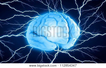 Concept of human intelligence with human brain on blue digital background