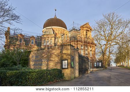 LONDON, UK - DECEMBER 28: Back of the Royal Observatory Greenwich, next to the meridian line. December 28, 2015 in London.