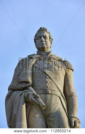 LONDON, UK - DECEMBER 28: Close up of statue of King William VI in Greenwich, outside the Royal Maritime Museum. December 28, 2015 in London.