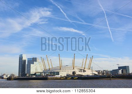 LONDON, UK - DECEMBER 28: The O2 Centre, formerly known as Millennium Dome, in a sunny blue sky day. December 28, 2015 in London.