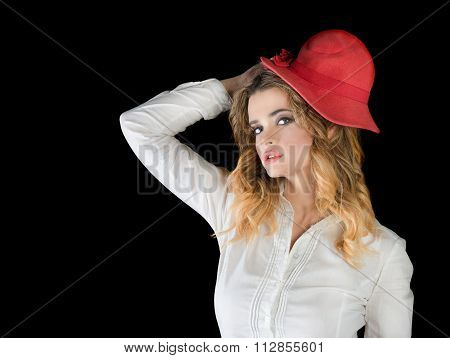 Young Girl Whit Red Hat