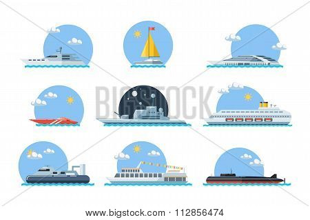Set of sea ships. Maritime transport in flat design style.