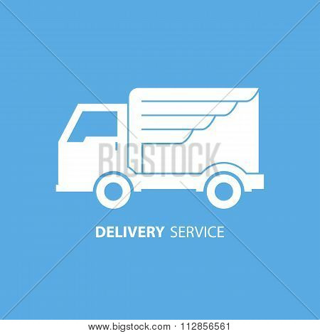 Express delivery service. Truck with wing. Truck icon. Delivery truck icon.