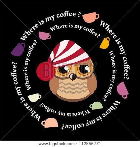Sleepy owl and dance colored coffee cups