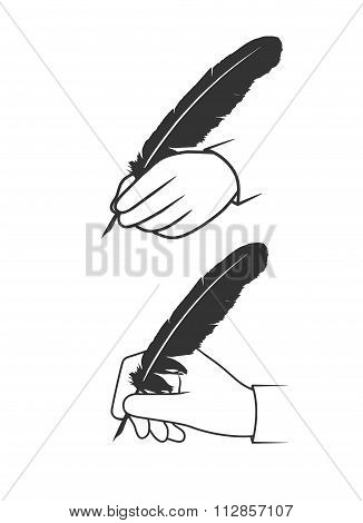 Feather In A Hand On A White Background