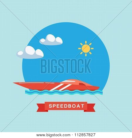 Speedboat flat vector illustration.
