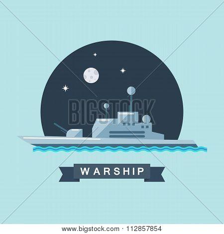 Warship flat vector illustration.