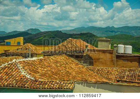 Roof Top View Over Colonial Houses In Trinidad,cuba