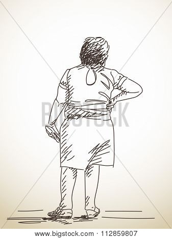 Sketch of standing woman from back, Hand drawn illustration