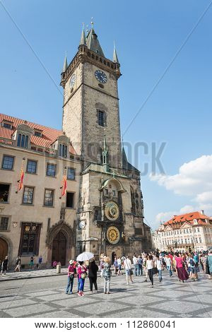 People In Old Town Hall - Prague - Czech