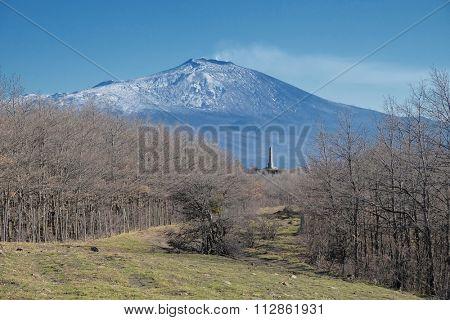 Etna Volcano and Nelson Obelisk in Nebrodi Park, Sicily