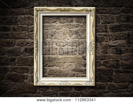 Old Frame On A Brick Wall