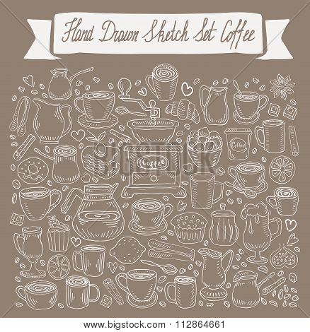 hand-drawn Doodle collection of coffee. vector illustration