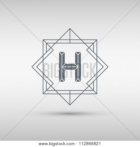 Letter H logo icon design template. H letter outline monogram.