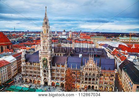 Aerial View Of Marienplatz In Munich