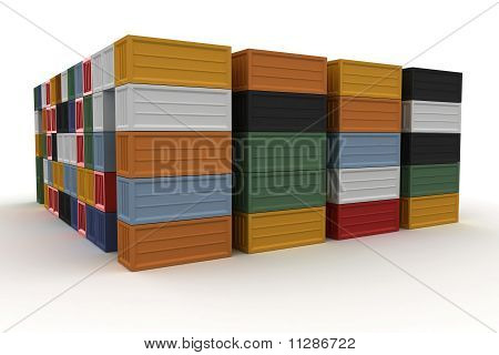 3D Cargo Containers Stacked