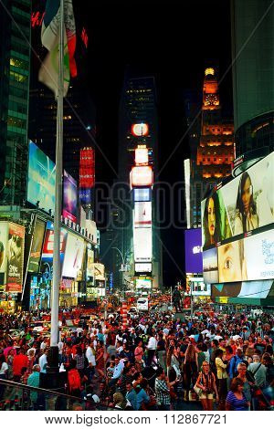 Times Square With People In The Night
