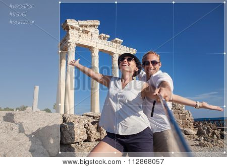 Cropping For Social Networks Post Photo Of Young Couple On Antique Ruins