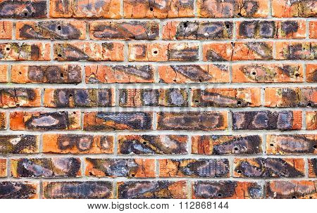 Weathered Stained Old Red Brick Wall As Background