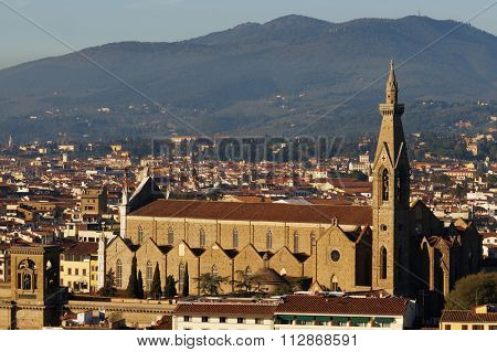 Classic view of Florence, Basilica di Santa Croce cathedral