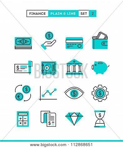 Money, Finance, Savings...plain And Line Icons Set, Flat Design
