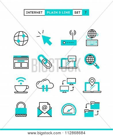 Internet, Global Network, Cloud Computing, Free Wifi And More. Plain And Line Icons Set, Flat Design