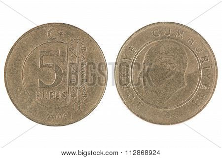 5 Turkish Kurus Coin