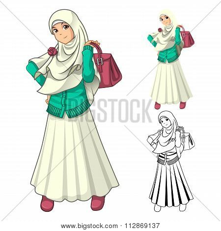 Muslim Girl Fashion Wearing Veil or Scarf with Holding a Bag and Dress Outfit