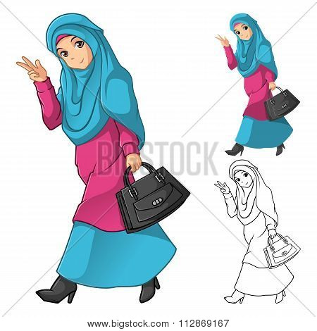 Muslim Girl Fashion Wearing Green Veil or Scarf with Holding a Black Bag and Dress Outfit