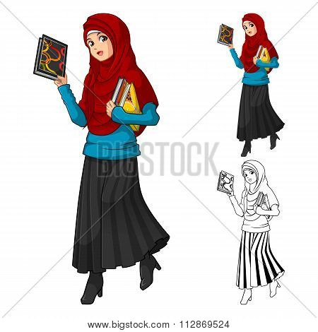Muslim Woman Fashion Wearing Red Veil or Scarf with Holding a Books