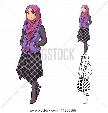 Muslim Woman Fashion Wearing Purple Veil or Scarf with Jacket and Line Skirt Outfit