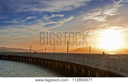 Golden Hour During Sunset On Pier Of San-francisco City In California, Usa.