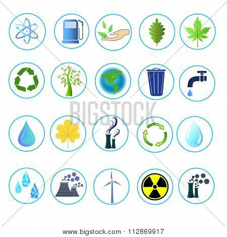 A Set Of Simple  Icons On Ecology  Theme