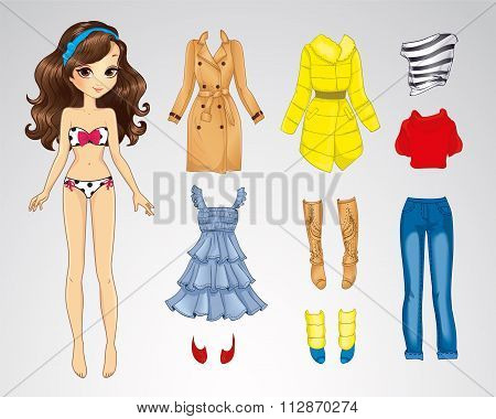 Paper Brunette Long Hair Doll