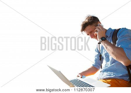 Freelance Working By The Seaside - Stock Image