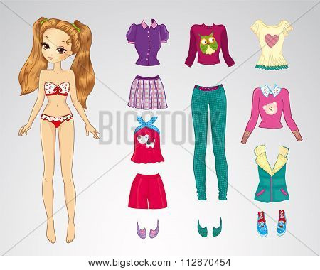 Paper Brown Hair Casual Doll