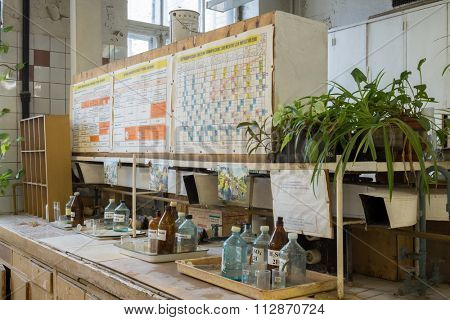 RUSSIA, MOSCOW - 12 SEP, 2015: Laboratory with Element Periodic Table in D. Mendeleyev University of Chemical Technology.