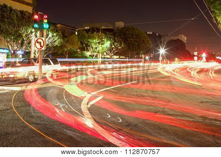 Night Shot Of The Trails Lights On One Of The Streets Of San-francisco. Long Exposure Used For This