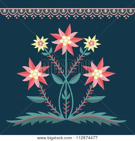 pattern folk with flowers dark green