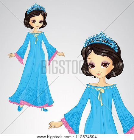 Beauty Princess In Blue Dress