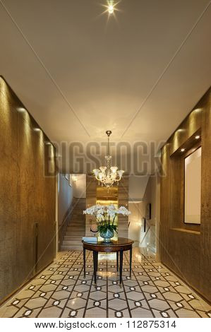 decoration and furniture in modern entrance hall