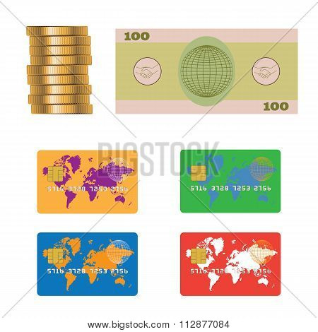 Banknote, Coins, Credit Bank Card.