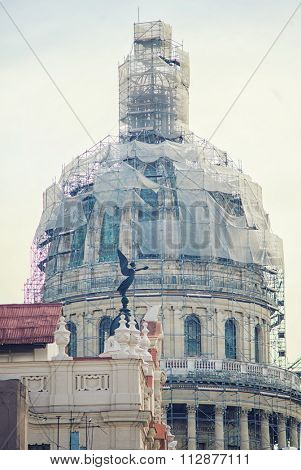 Detail of Capitol building dome in Havana, Cuba